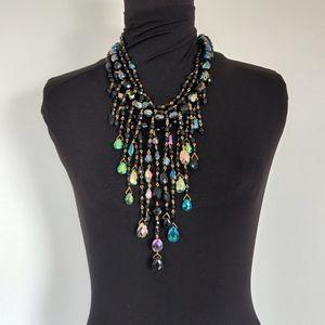 Joan Rivers Runway Oil Slick Crystal Bib Necklace